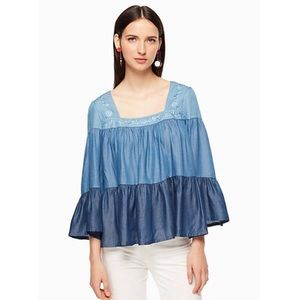 Kate Spade Broome Street Chambray Tiered Blouse